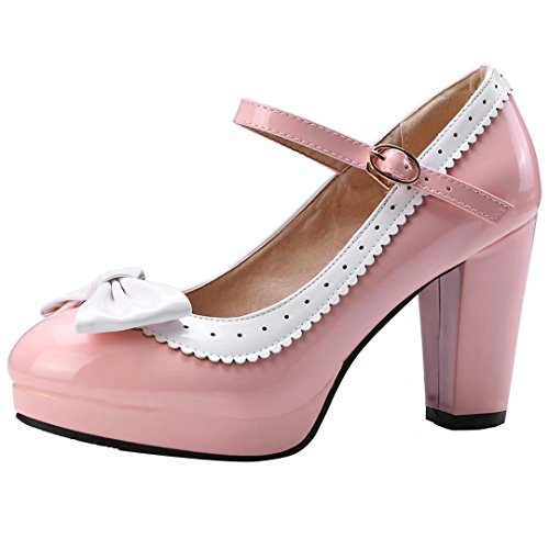 YE Damen Rockabilly Pumps Blockabsatz Plateau High Heels mit Riemchen und Schleife 9cm Absatz Elegant Schuhe Strap Mary Jane Pump
