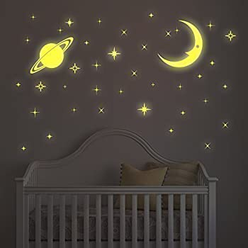 Walplus Wall Stickers Glow In Dark Stars And Moon Removable Self Adhesive  Mural Art Decals Part 68