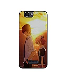 Casotec Girl Boy Sunset Sea Design Canvas Printed Soft TPU Back Case Cover for Micromax Canvas 2 Colors A120