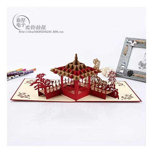 ZHOUBIN 2 fogli/set Carving And Hollowing Out 3D Cards/Greeting Cards/Regali di Natale Capodanno/Auguri di compleanno/Oriental Pavilion