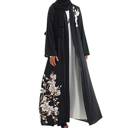 Makefortune 2019 Muslimische Kleider Damen, Frauen Muslims Kleidung Ethnische Art Druck Lange Hülsen-Partei Maxi-Kleid-Robe Moslemischen Art und Weisefrauen Langarm National Style Printed Robe Dress