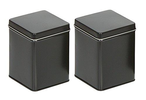mikken - 2 x Teedose / Gewürzdose eckig & luftdicht für 100g mit Stülpdeckel & 2 Etiketten, Vorratsdosen aus Weißblech (Schwarz) als Metall-, Kaffeedose & Tabakdose verwendbar (7.6 x 7.6 x 10 cm)