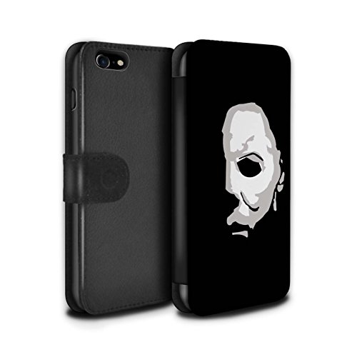 Stuff4® PU-Leder Hülle/Case/Tasche/Cover für Apple iPhone 8 / Michael Myers Inspiriert Kunst Muster/Grusel Filmkunst Kollektion