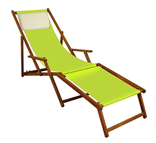 Sonnenliege Liegestuhl Pistazie Fußteil Kissen Gartenliege Holz Strandstuhl Gartenmöbel 10-306FKH