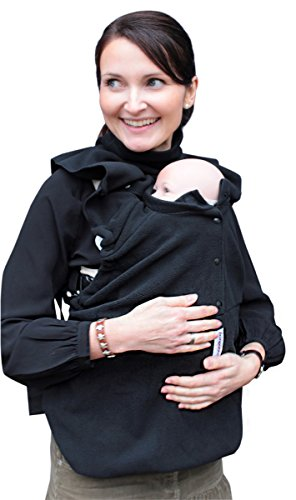 manduca by MaM Cold Weather Insert (Fleece Cover) > Black < Tragecover für Babytrage und Tragetuch, Schalkragen für Zwei (Baby & Mutter/ Vater), Polar-Fleece, Ideal für Herbst & Frühjahr, schwarz
