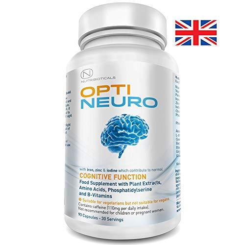 Optineuro mit Panthothensäure für geistige Leistungsfähigkeit | Premium Nootropikum Stack mit Guarana, L-Theanin, Cholin, Bacopa, Gingko Biloba, Tyrosin, Phosphatidylserin (PS), Coenzym Q10, B12 (Methylcobalamin) | 90 Kapseln -