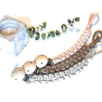 Schnullerband/Schnullerkette Textil – Stoff Jungen Mädchen – Makramee – Boho – geflochten – dezent – natürlich…