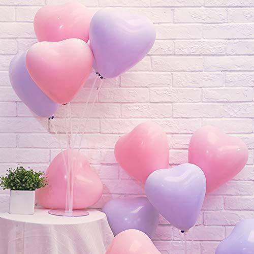 Forma del corazón Látex Globos,Color Macaron De 16 Pulgadas Globos de Fiesta Lovely Globos Banner de Feliz cumpleaños para cotillón y Decoraciones(Pack 200)-D