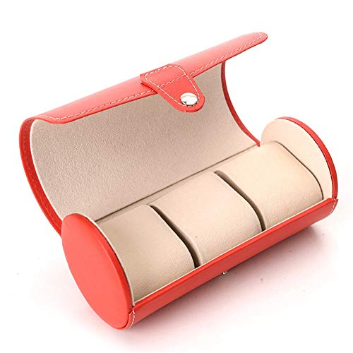 HO-TBO Uhrenbox Rot 3-Zylinder-Uhr-Box Smart Watch Box Aufbewahrungsbox Leder Uhr Box Schmuck-Box Foto Color Thanksgiving-Männer Geschenk (Color : Black, Size : S) -