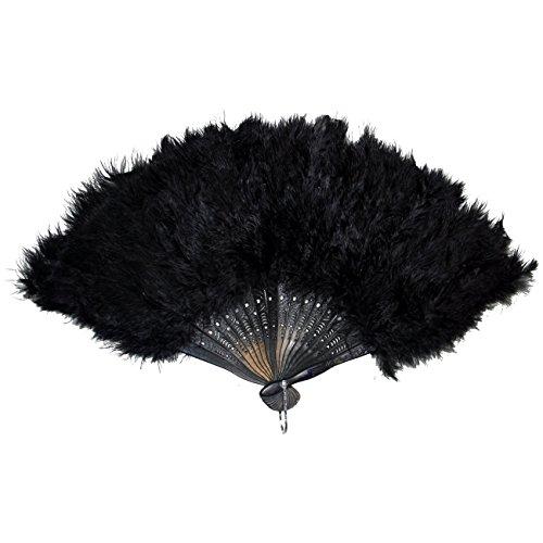 Feder Kostüme Schwarzer (Federfächer SCHWARZ mit echten Federn Fächer Tanzfächer Handfächer für Tanz Charleston)