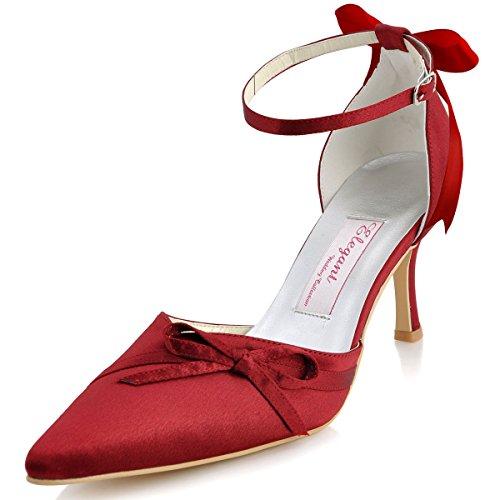 Elegantpark AF006A Femme Bout Pointu Talon Aigu Haut Boucle Fleurs Satin Chaussures Du Bal Rose
