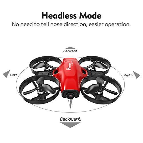 Potensic Drone con Telecamera HD Mini Drone Telecomando A30W Quadricottero WiFi modalità Senza Testa, Adatto per Principianti, Buon Regalo per Bambini (Rosso) - 7