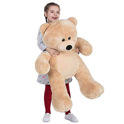 VERCART Großer Teddybär XXL Braun Teddy Bärchen Personalisiert Kuscheltier für Kinder Plüschbär Kuscheln Geschenk 92cm (Ohren White Bear)
