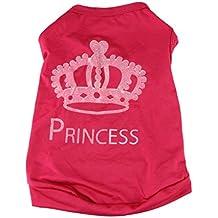 Fulltime (TM) Fashion Pet Dog Cat Cute Princess Camiseta Chaleco de ropa perchero de pared de Summer Puggy Disfraces Rosa