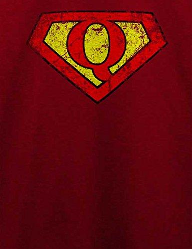Q Buchstabe Logo Vintage T-Shirt Bordeaux