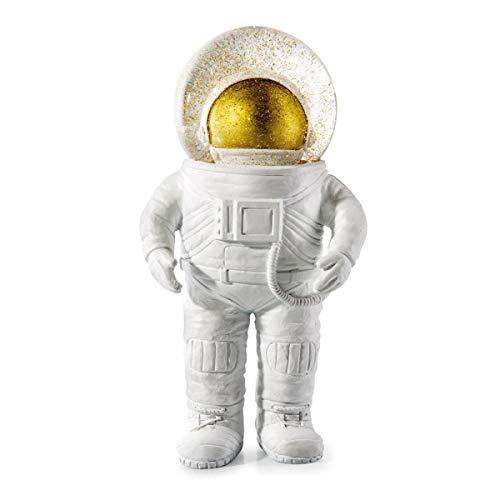 DONKEY Products Summerglobe The Giant Astronaut, Schneekugel, Glitzerkugel, Dekoration, Glas, Polyresin, Weiß, Golden, 30 cm, 330447