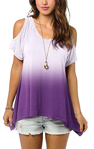 Urbancoco Damen Schulterfrei Gradient Farbe Tunika Top Ombre Shirt (XL, Violett)