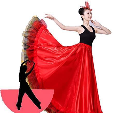 SMACO Spanisch Flamenco Röcke Frauen Flamenco Dance Kostüme Gypsy Rock Damen Gesellschaftstanz Kleid Bühnenshow Wear (Gypsy Kostüm Frauen)