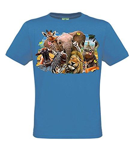 DarkArt-Designs Africa Selfie - Tiere Afrikas T-Shirt für Kinder - Tiermotiv Shirt Fun Wildlife Lifestyle regular fit, Größe 134/140, azure