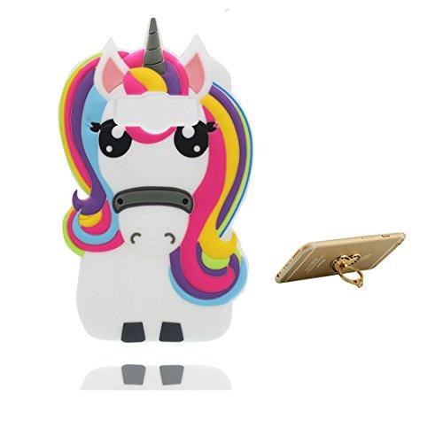 Samsung Galaxy J1 Ace Coque, 3D Cartoon Licorne cheval Case Samsung Galaxy J1 ACE étui Cover, matériau TPU durable, poussière glissement résistant aux rayures -Unicorn & ring Support
