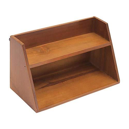 Unvollendete Holz Schreibtisch (RMXMY Dekorative Boxen Holzkiste Schmuckschatulle Vintage Holz handgefertigte Box aus Holz unvollendete Aufbewahrungsbox Hause freistehende Schreibtisch Bücherregal mit 2 Tier Aufbewahrungsbox)