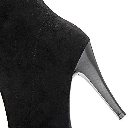 Material Mulheres Do apontou Allhqfashion Botas Toe High Torno Em Macio Salto Pretas Puras Alto qYfzE