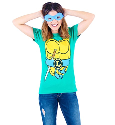 Mighty Fine TMNT Teenage Mutant Ninja Turtles Leonardo Kostüm Grün Damen T-shirt Tee (Damen (Turtle Ninja Dress Kostüme)
