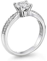 14K Gold / White Round Cut Diamond Simulated Swarovski Pure Brilliance Zirconia Engagement Ring (0.74 cttw)