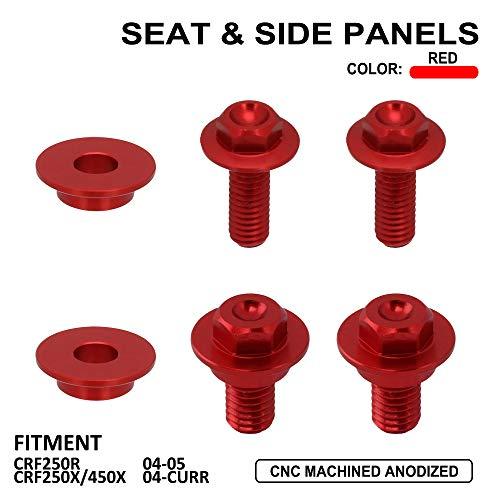 Motorradsitz x Seitenteile Schrauben Schrauben für Honda CRF250R CRF 250R 2004-2005 CRF250X CRF450X 250X 450X 2004-CURR CNC-Rot