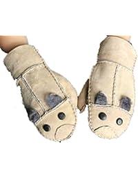ladyMYP©100% Pelz Kinder Lederhandschuhe Fäustling Handschuhe Mause