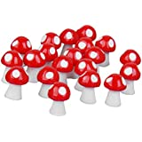 20pcs Dollhouse Casa De Muñecas Miniatura Setas Decoración Bonsai Paisaje Jardín (rojo)