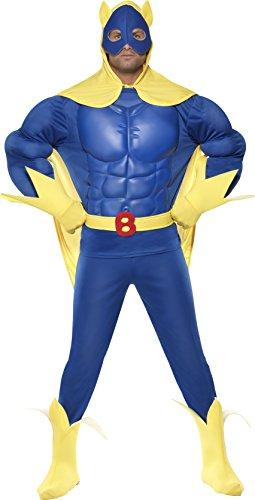 naman Kostüm, Oberteil mit EVA-Brust, Hose, Umhang mit Kapuze, Gürtel, Handschuhe und Überstiefel, Größe: XL, 39556 (Bananaman Kostüm)