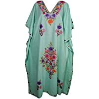 Womens Kaftan Maxi Dresses Bohemian Embroidered Resort Caftan Dress OneSize