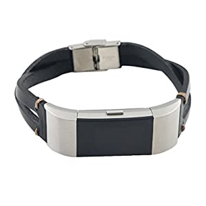 Replacement Leather Wristband Band Strap Bracelet For Fitbit Charge 2