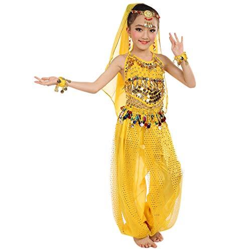 Bauchtanz Outfit Kostüm Indische Kleidung Bollywood Orient Kleid Top + Hose Piebo Mädchen Kostüm Chiffon Tüll Kleid Ägypten Bauchtänzerin Pailletten Karneval, kein Schleier dabei, Keine Armband