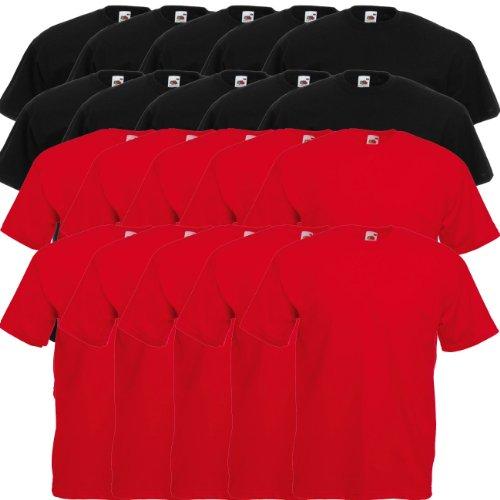 Fruit of the Loom Original Valueweight T Rundhals T-Shirt F140 5er 10er 15er 20er Pack 10 black 10x red