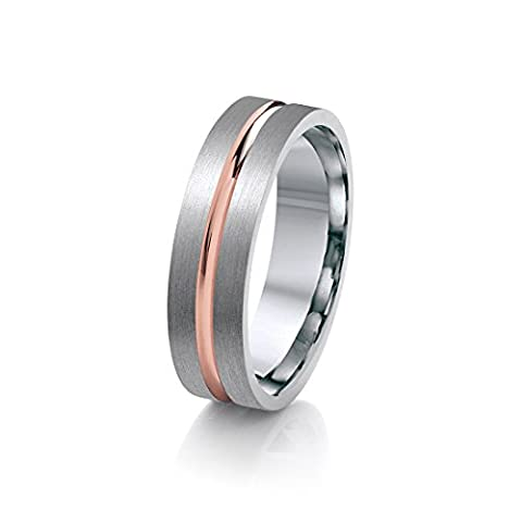 Theia Titanium with Rose Gold Colour Inlay Centre Groove Flat Court Shape 6mm Ring - Size S