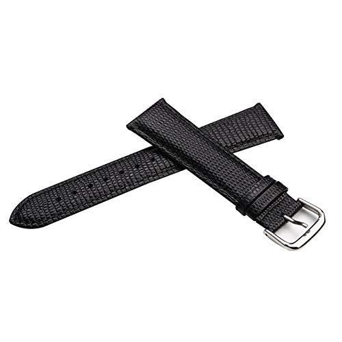 ExcLent 15/21mm Unisex Lizard Black Genuine Leather Watch Strap - 15mm -