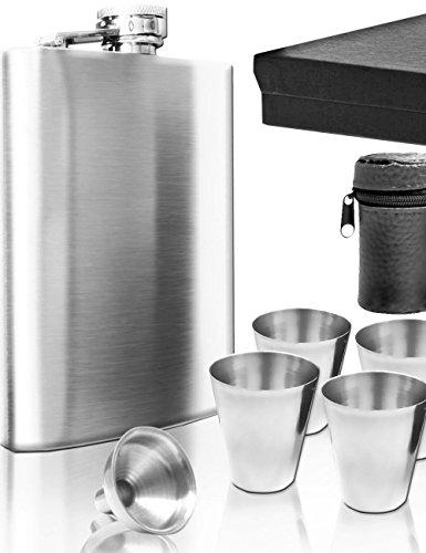 Outdoor Saxx® - Edelstahl Flachmann Geschenk-Set, Brust-Flasche, Einfüll-Trichter, 4 Becher, Leder-Tasche, in Geschenk-Box, 7-teilig