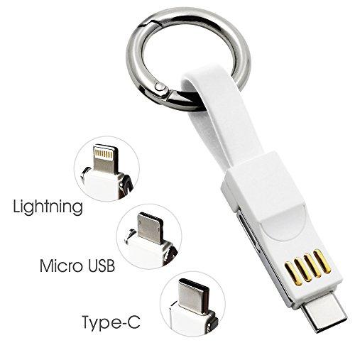 Preisvergleich Produktbild Tragbar Kurze Schnellladekabel Multi Datenkabel 13cm Schlüsselanhänger Aufladekabel (Weiß)