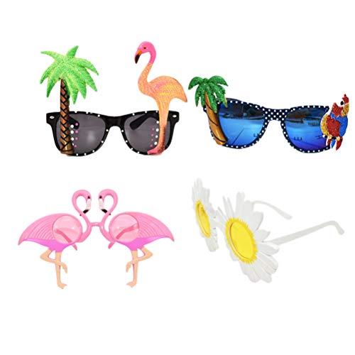 3271e35894 Amosfun Hawaiian Animal Glasses Kit 4pcs Cóctel Flamingo Flor Gafas Gafas  de Animales para la Fiesta