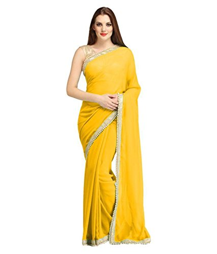 Sarees(V Art Yellow Chiffon Embellished Beads(MOTI) Lace Saree With Gold Brocade Blouse)