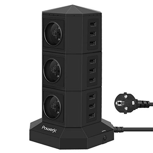 Powerjc Steckdosenleiste Mehrfachsteckdose 6 Fach Steckdose mit 9 USB Mehrfachstecker Steckerleiste,6-ft Verlängerungskabel Verlängerungssteckdose Überspannungsschutz TW