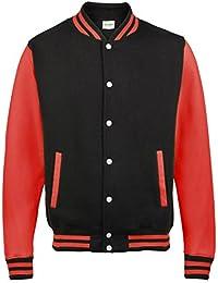Awdis Varsity jacket - Jet Black/ Fire Red - 2XL