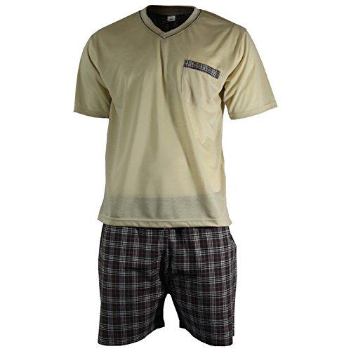 Herren Schlafanzug Shorty T-Shirt uni Hose im Karolook kurz 2-tlg in 5 Farben - Qualität von Lavazio® Beige