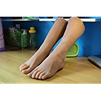 "1 Pair Silicone Lifesize leg foot mannequin display shoes socks (Brown-male 8.6"")"