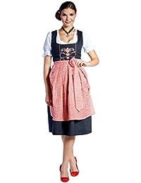 donnerlittchen!!!!! Midi-Dirndl Lena Schwarz/Rot/Weiß mit Herzen inklusive Bluse und Schürze 32-46
