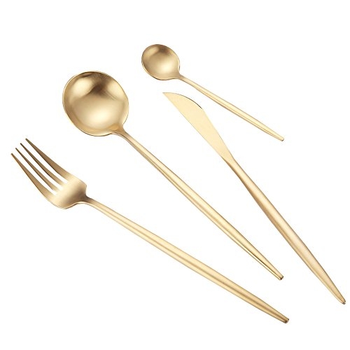 4 pièces d'or mat en acier inoxydable fixé couverts, y compris cuillères fourchette cuisine couteau restaurant de l'hôtel Arts de la table