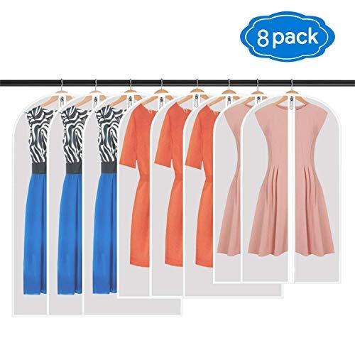 Qhui Kleidersack, Hochwertiger Kleidersäcke, Transparent, 8 Stücke, 120 x 60 cm + 100 x 60 cm + 80 x 60 cm, für Anzüge Kleider Mäntel Sakkos Hemden Abendkleider Anzugsack Aufbewahrung