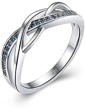Massive 925Sterling keltische Ringe aus Silber für Frauen mit Saphir blau Geburtsstein Größe K bis U optional